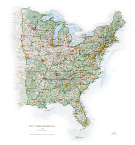 United States State And Regional Portraits - Eastern united states map