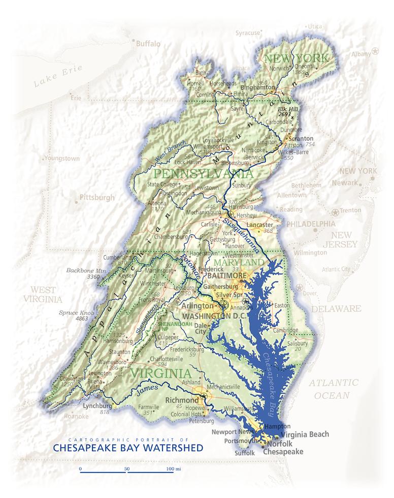 Chesapeake Bay Watershed   Cartographic Art