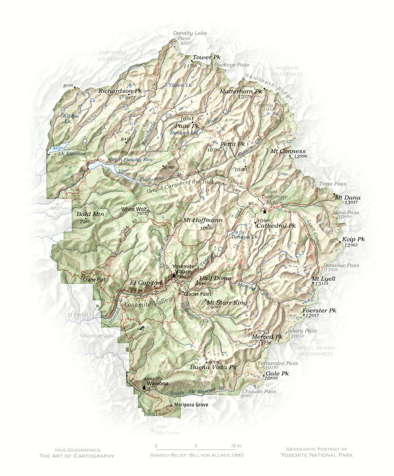 Portrait of Yosemite | Cartographic Art