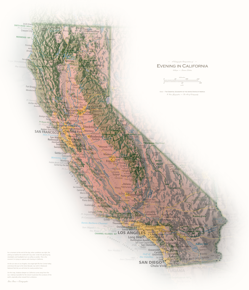 Evening in California | Cartographic Art