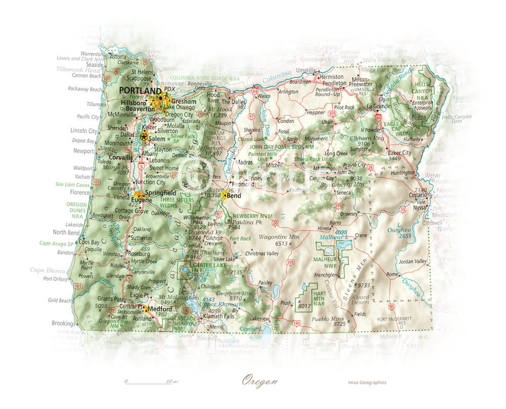 Oregon | Cartographic Art