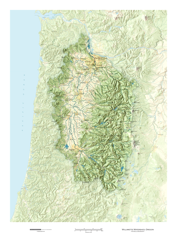 Willamette Watershed, Oregon | Cartographic Art
